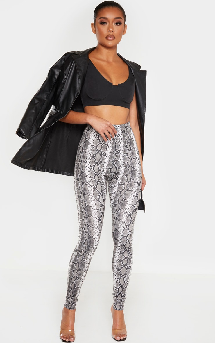 Grey Snake Print Leggings 1