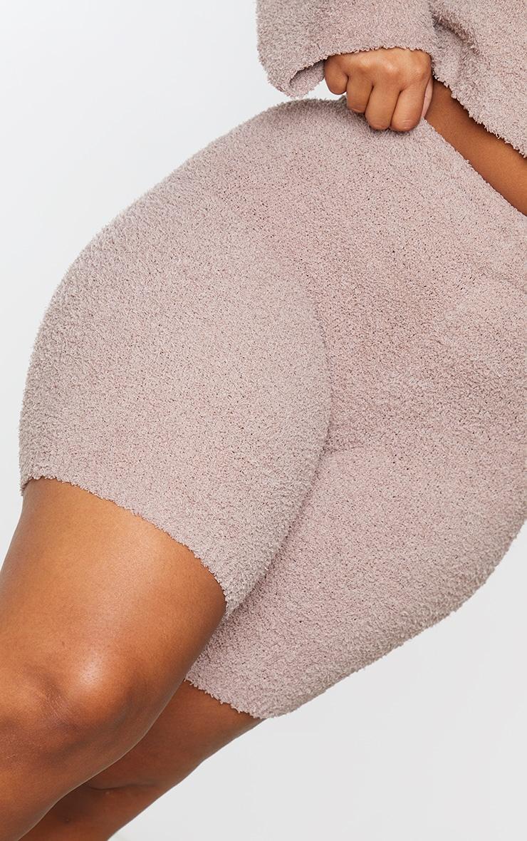 Plus Mocha Fluffy Knit Bike Shorts 5