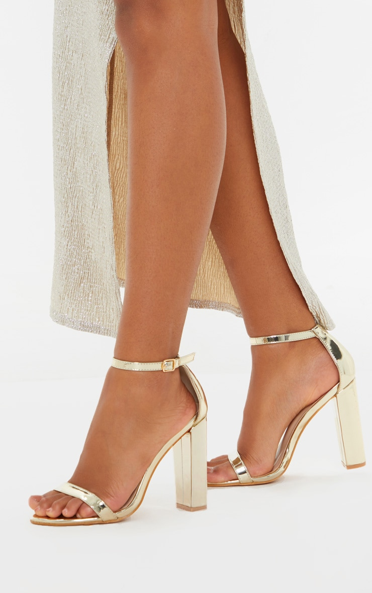 May Gold Block Heeled Sandal 1