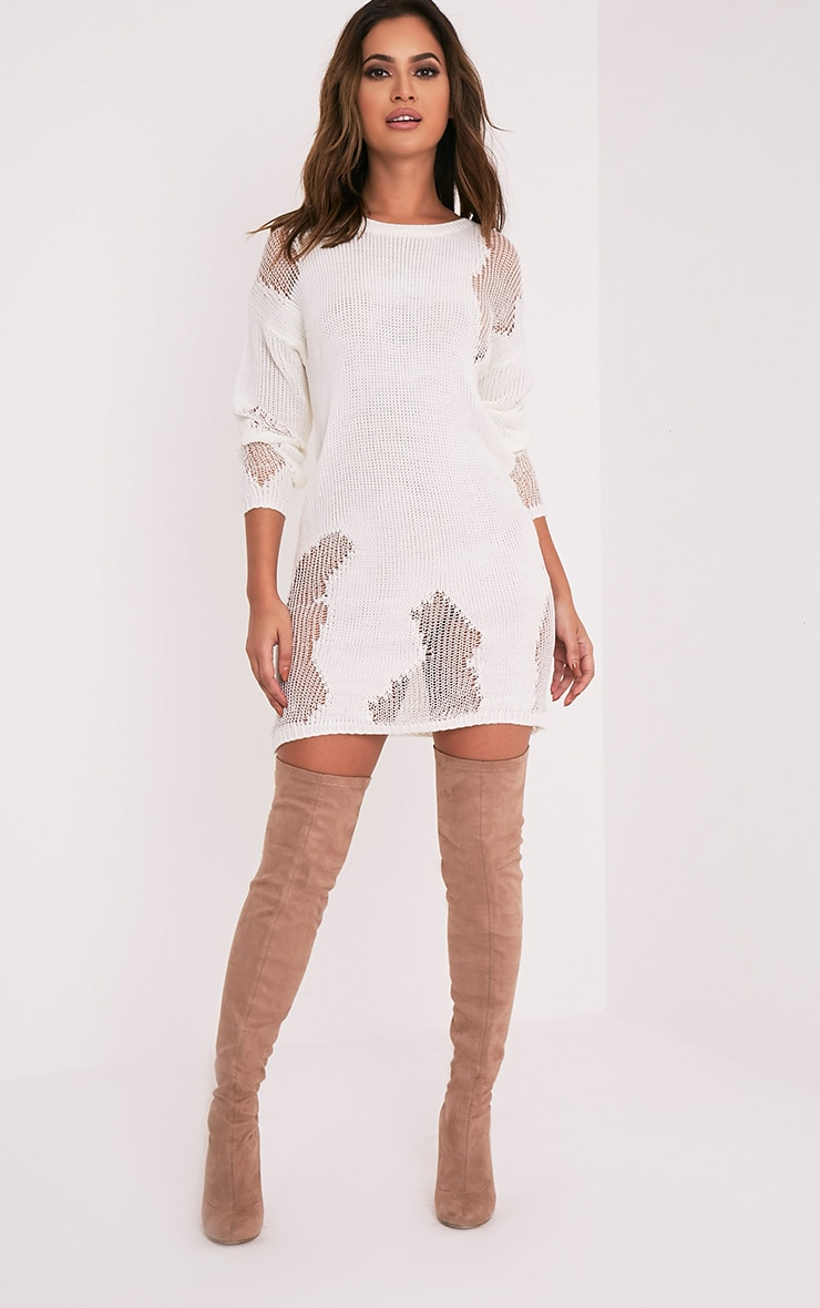 Romanae Cream Frayed Rip Knitted Jumper 5