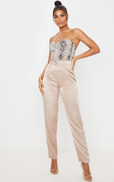 Taupe Straight Textured Satin Trouser