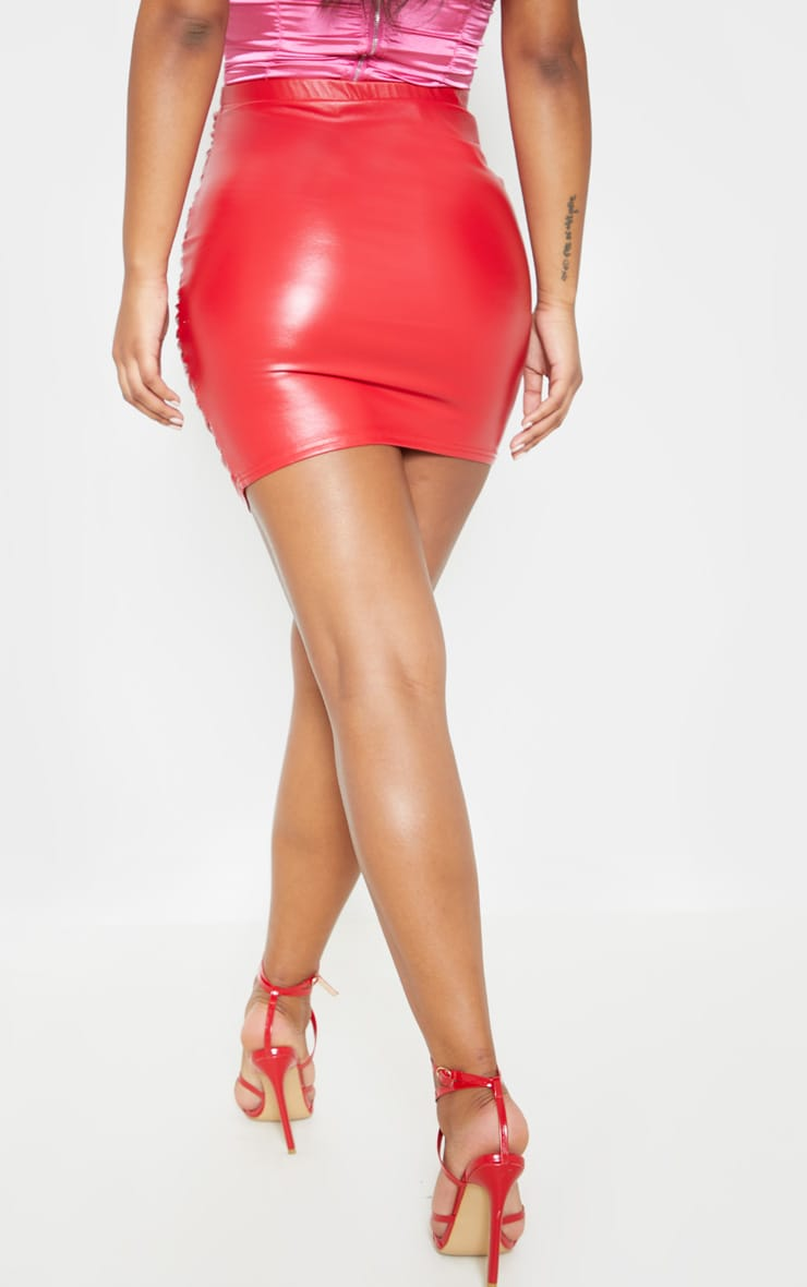 Red PU Ruched Detail Mini Skirt 5