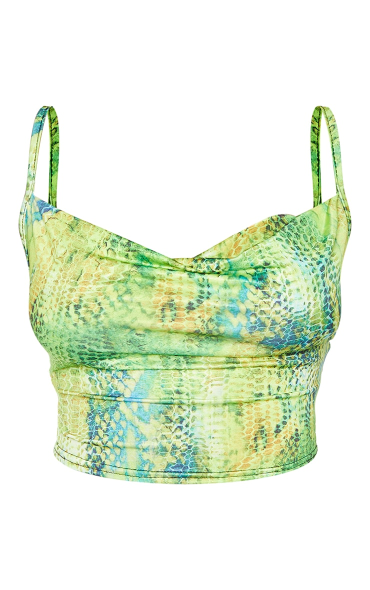 Lime Abstract Snake Slinky Cowl Neck Crop Top 5