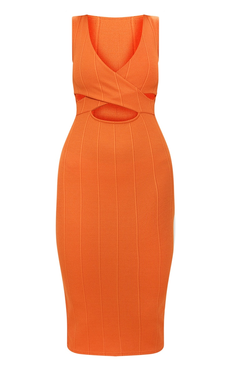 Burnt Orange Bandage Cross Over Detail Midi Dress 3