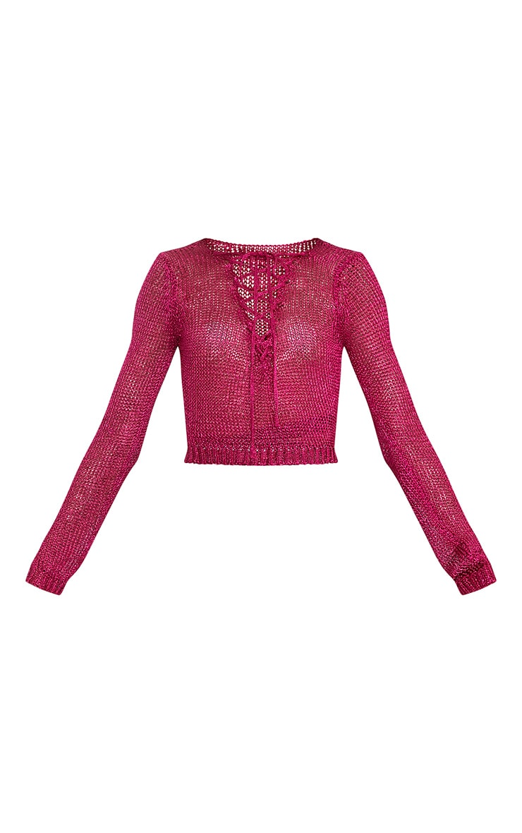 Eilinna Hot Pink Metallic Knit Tie Detail Crop Top 3