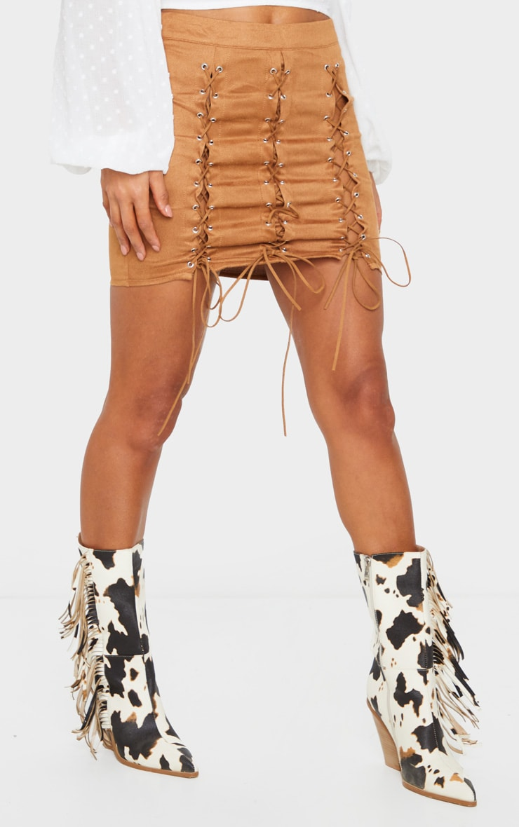 Tan Faux Suede Lace Up Detail Mini Skirt 2