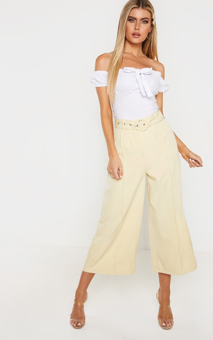 Tall Cream Circle Belt Wide Leg Culottes 1