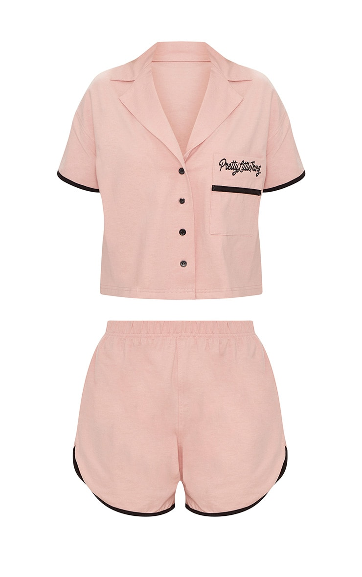 PRETTYLITTLETHING Pale Pink Embroidered Short PJ Set 3