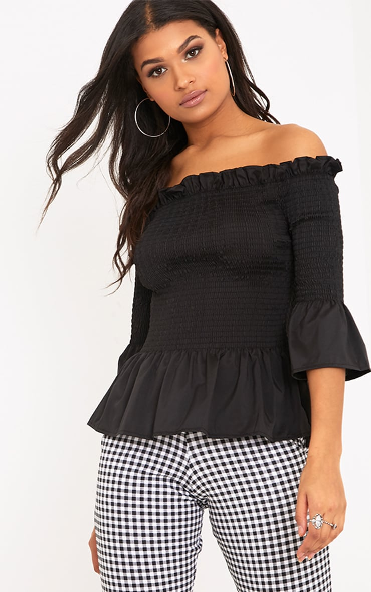 Pami Black Ruched Bardot Cotton Shirt 1