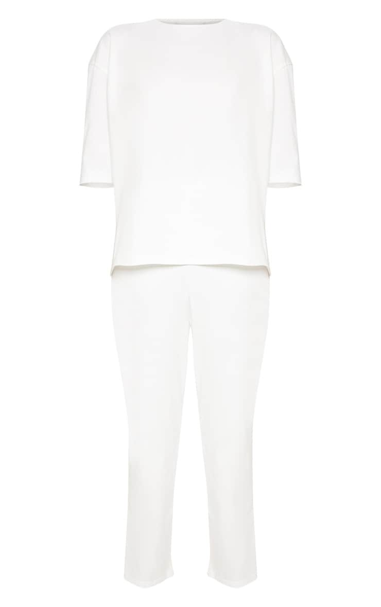 Cream Jersey Crew Neck Boxy T Shirt & Trouser Set 3