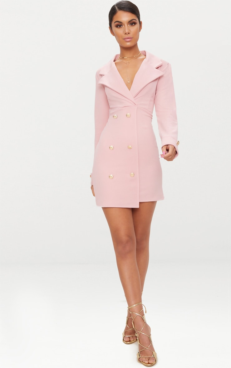 Dusty Pink Gold Button Detail Blazer Dress 4