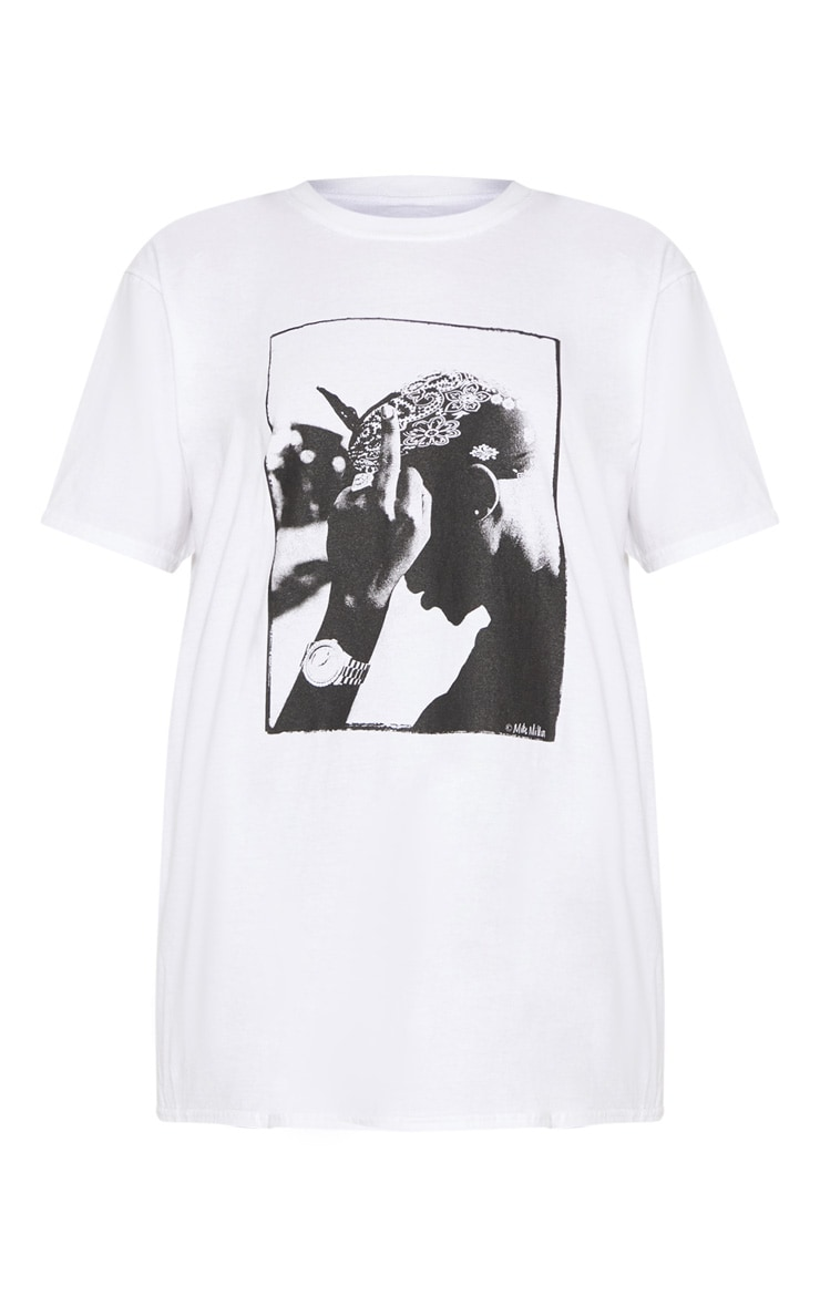 White Tupac Oversized T Shirt 3