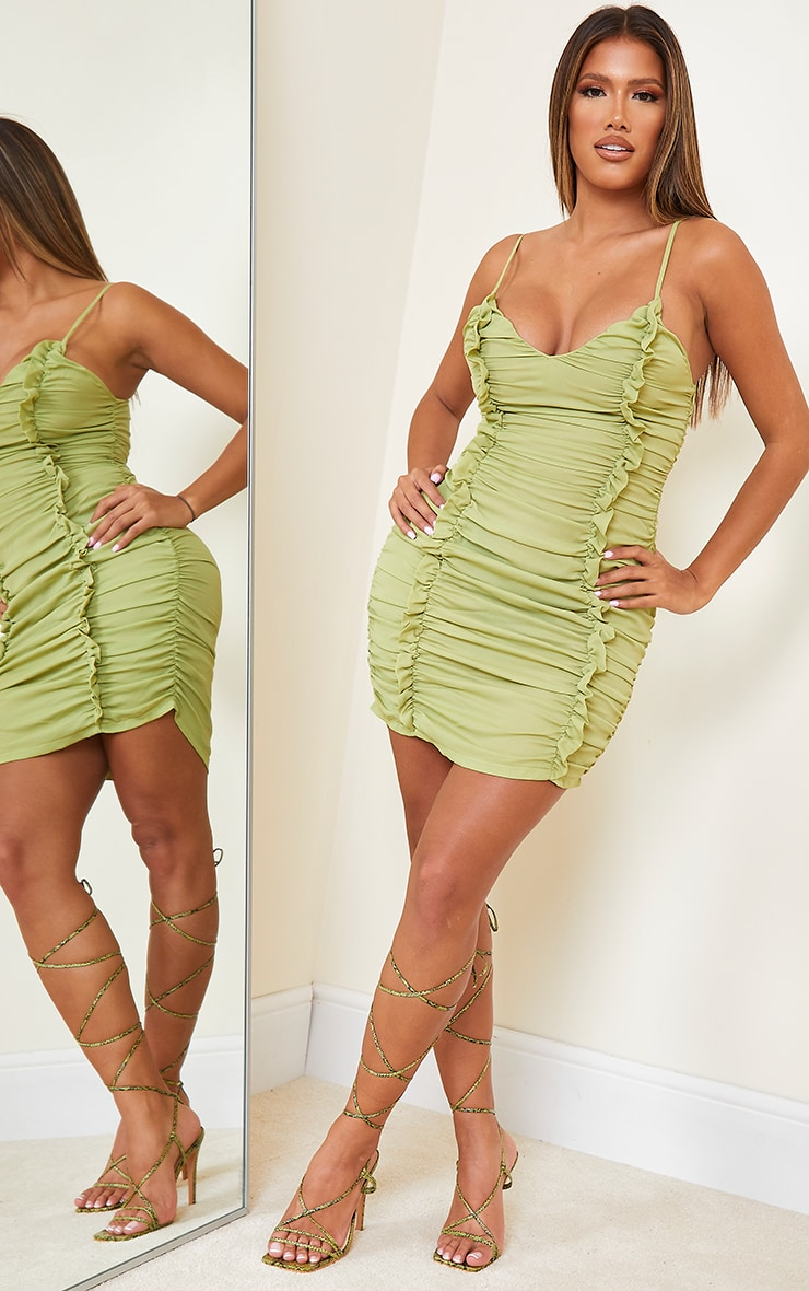 Shape Lime Chiffon Plunge Ruched Bodycon Dress 3