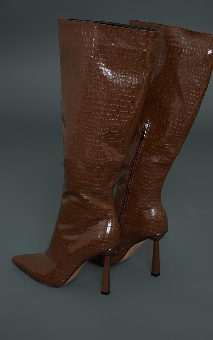 Chocolate PU Croc Pointed Knee Boots 4