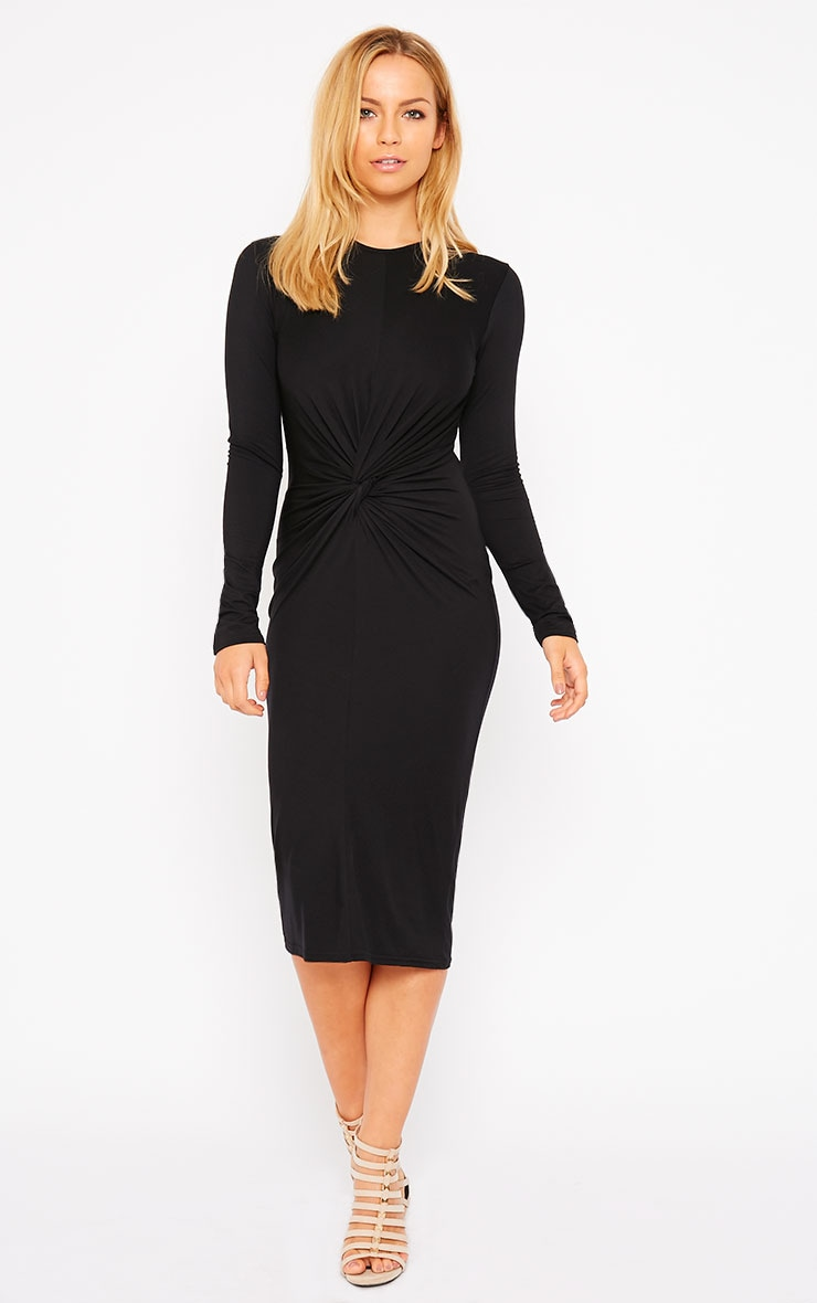Kenna Black Knot Front Midi Dress 3