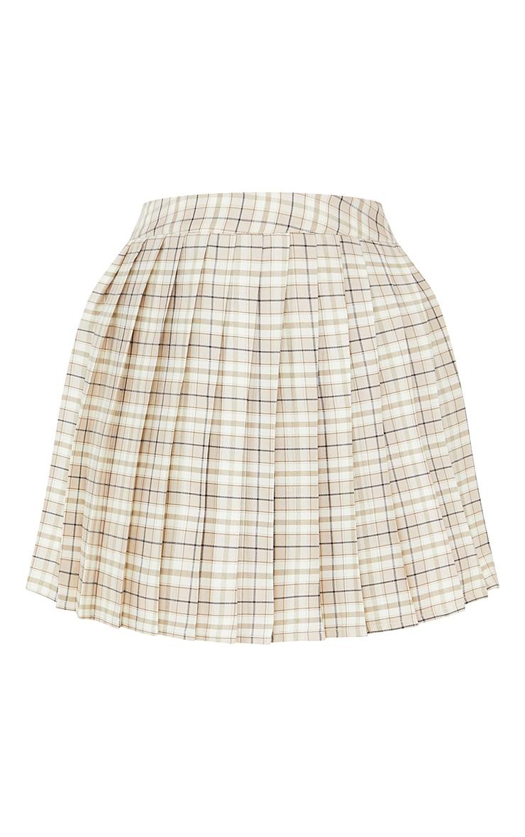 Petite Stone Woven Check Tennis Skirt 6