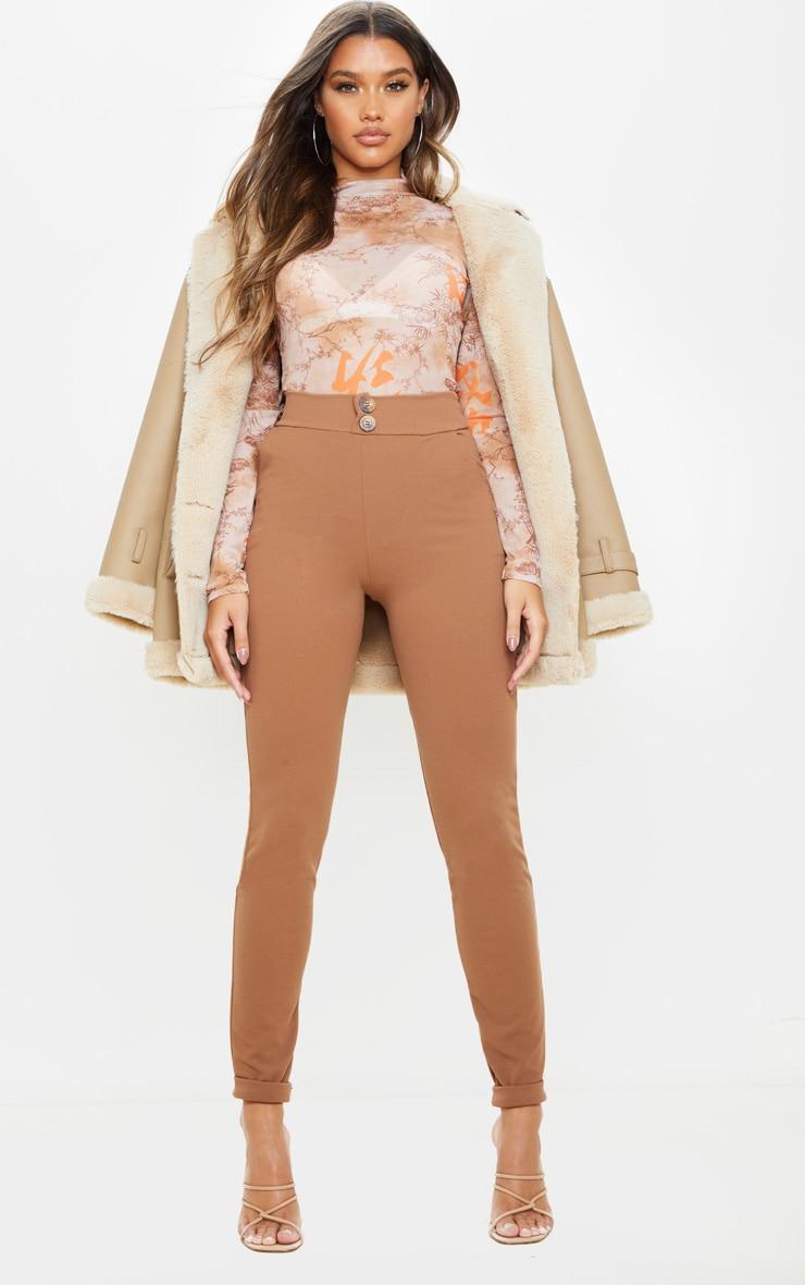 Camel Button Detail Skinny Trouser  1