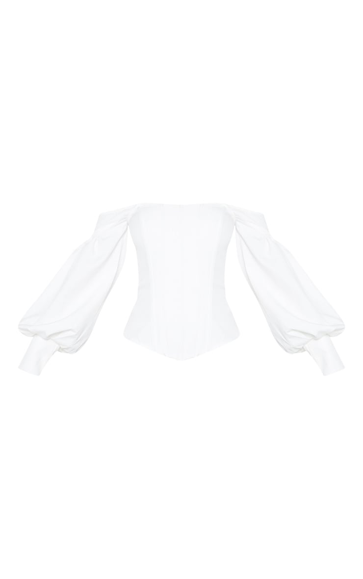White Bardot Balloon Sleeve Corset Top 3