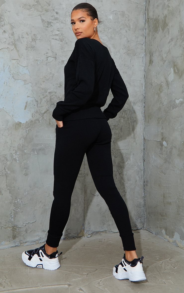 Auriel Black Jogger Jumper Knitted Lounge Set 2