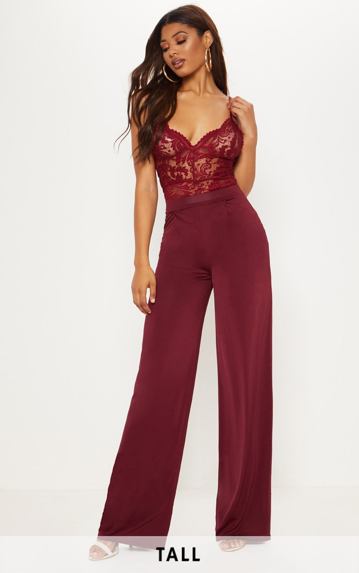 Tall Burgundy Slinky Wide Leg Trousers by Prettylittlething