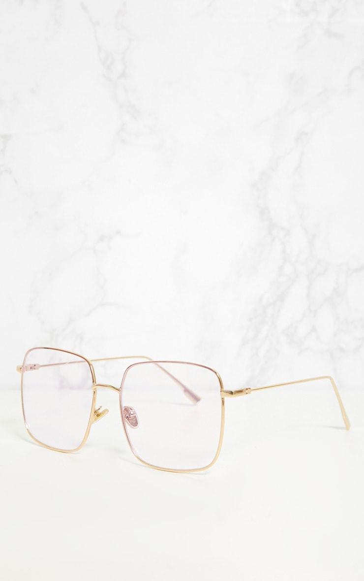 Gold Clear Lensed Square Metal Glasses 3