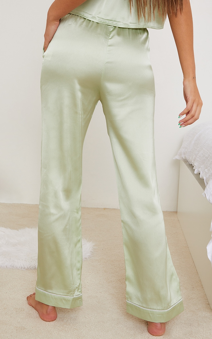Sage Mix And Match Piped Detail Satin PJ Trousers 3