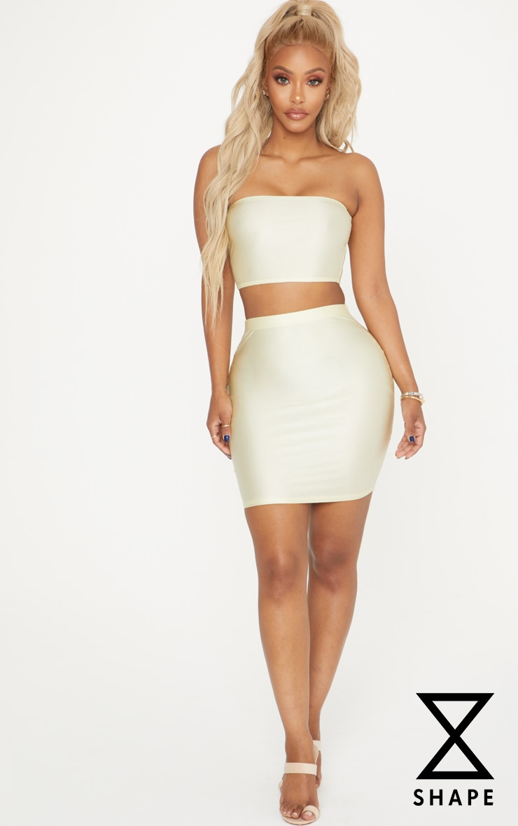 Shape Champagne Slinky Metallic Mini Skirt 1