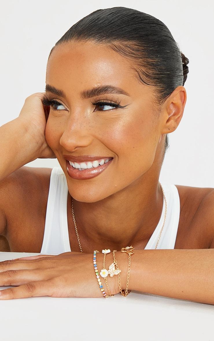 Gold Assorted Butterfly Diamante Pastel Bracelets 1