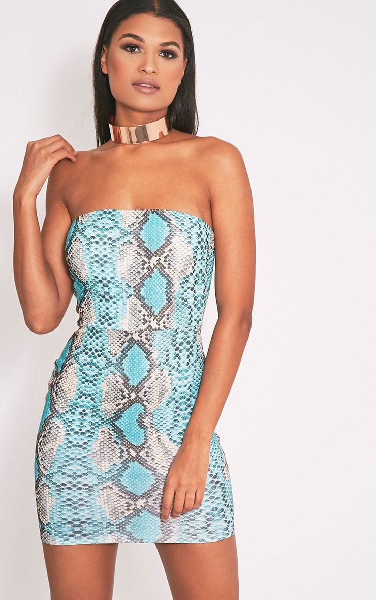 Kaddy Turquoise Snakeskin Bandeau Bodycon Dress 2