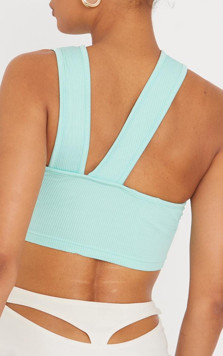 Mint Stretch Rib High Neck Back Detail Crop Top 4