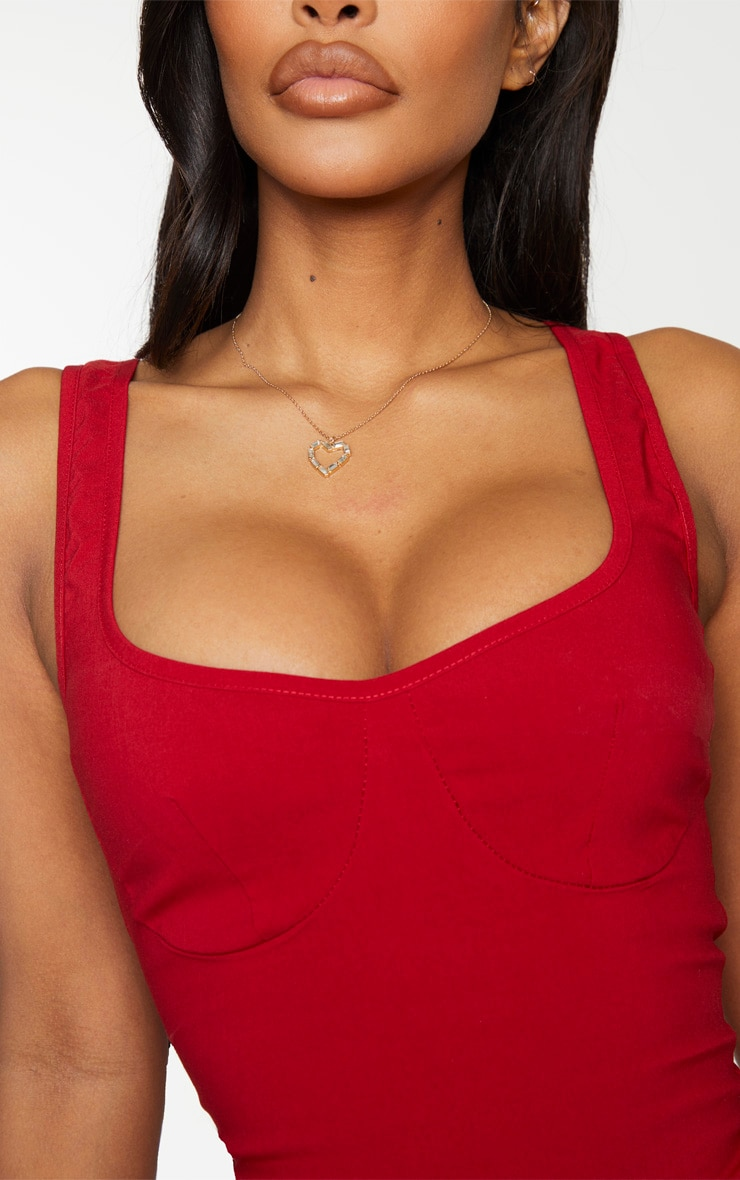 Shape Red Cup Detail Bodysuit 4