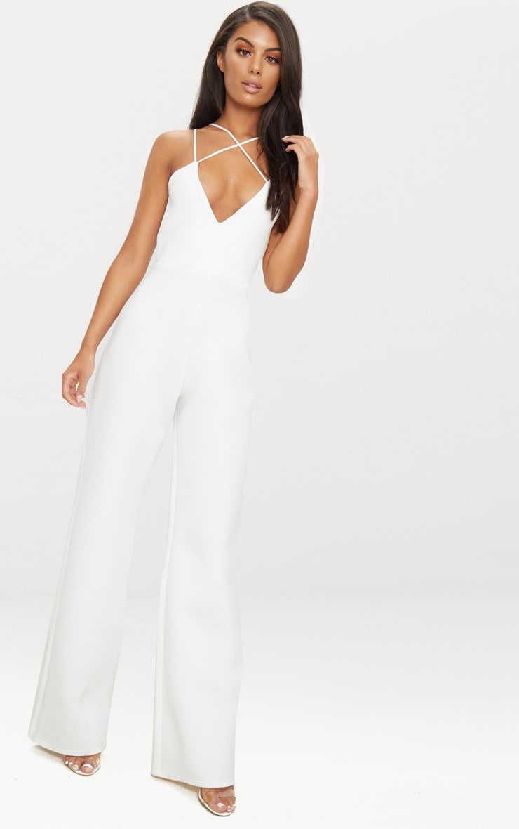 White Scuba Cross Strap Jumpsuit 5