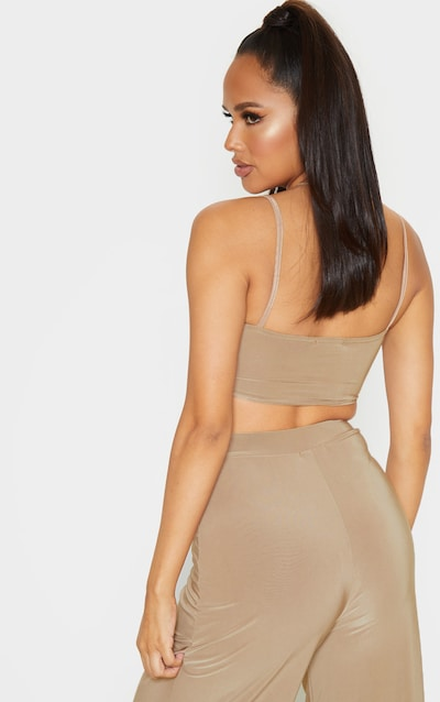 Camel Slinky Strappy Detail Crop Top