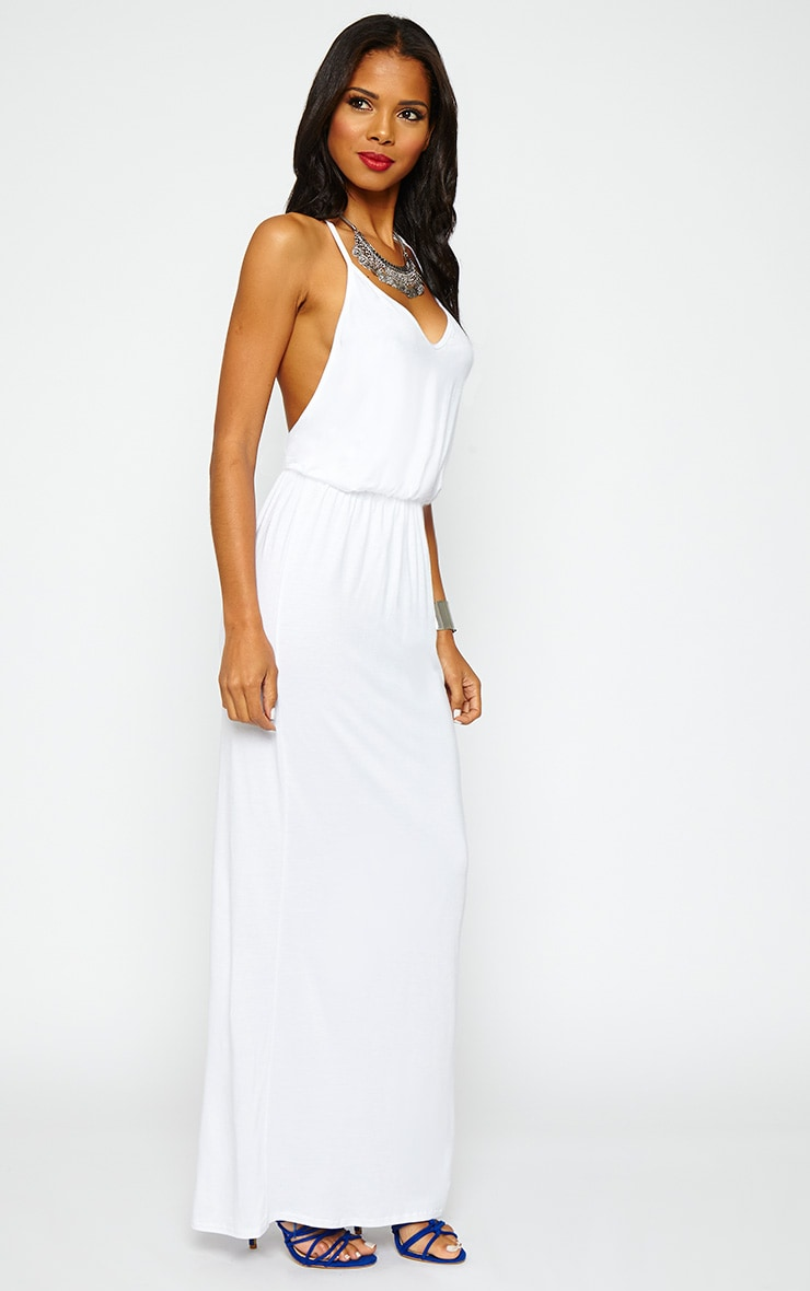 Emillie White T-Bar Back Jersey Maxi Dress 3