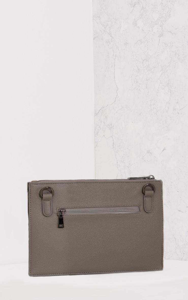 Aimee Grey PU Star Detail Clutch Bag 3