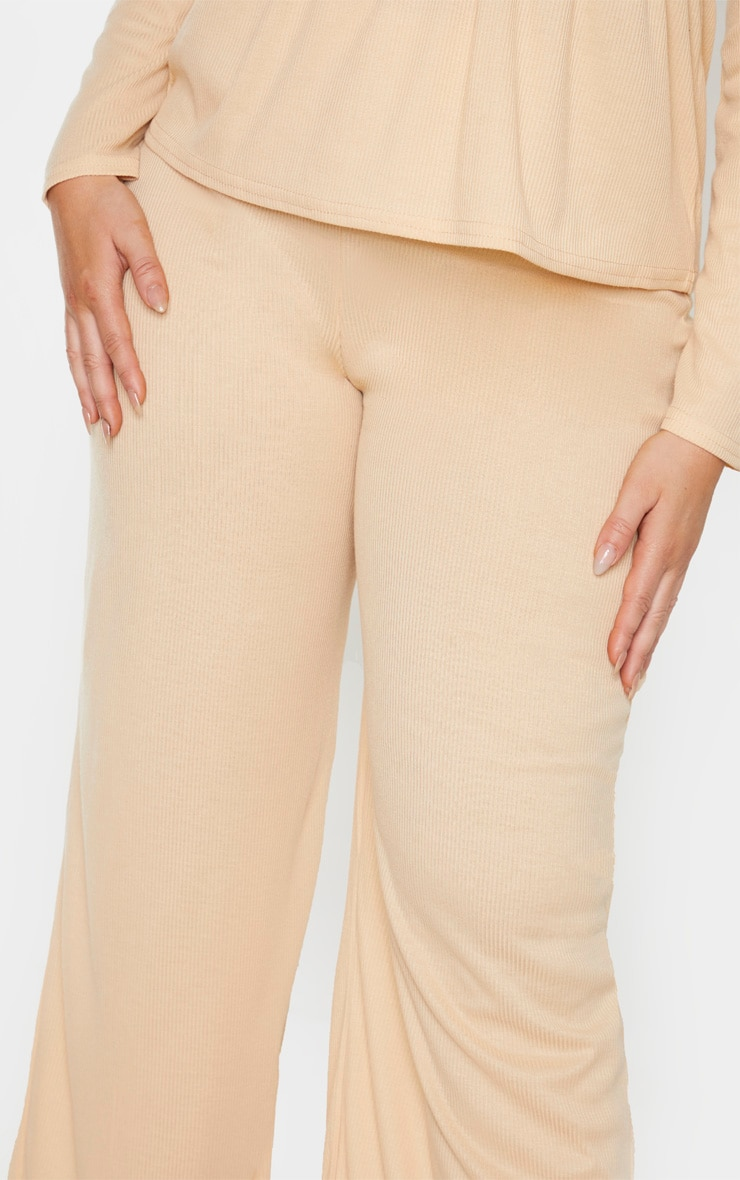 Plus Stone Ribbed Wide Leg Pants 5