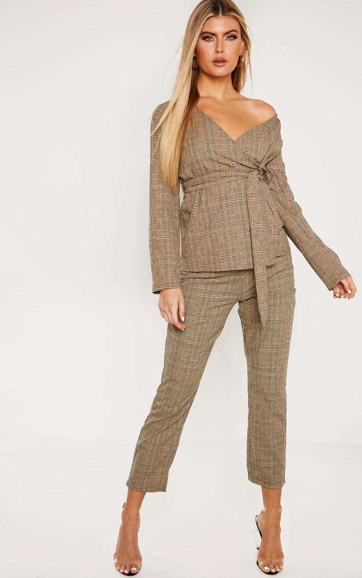 Tall - Pantalon droit marron imprimé carreaux 1