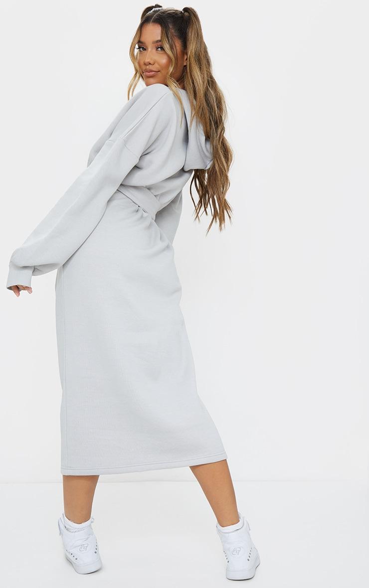 Grey Waist Tie Long Sleeve Midi Sweat Jumper Dress 2