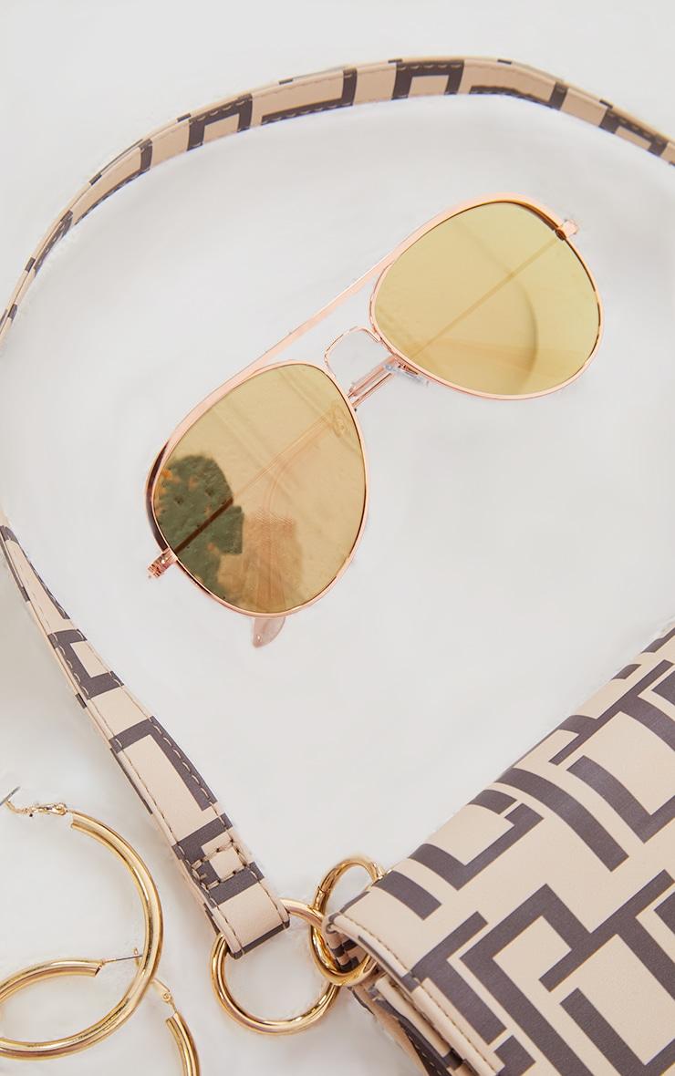 Rose Gold Tinted Lens Aviator Sunglasses 2