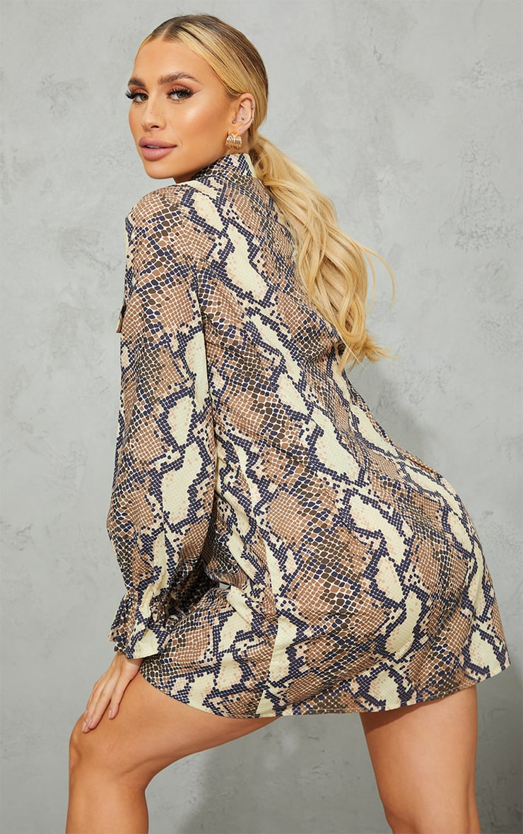 Maternity Grey Snake Print Utility Shirt Dress 2