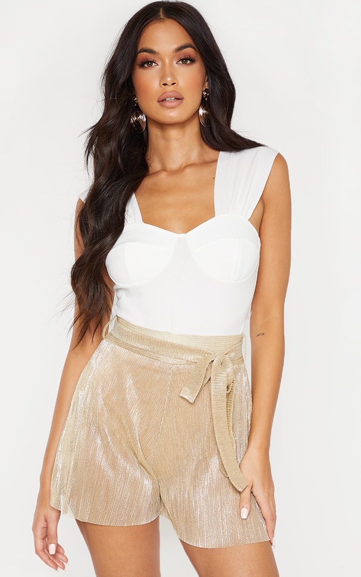 Cream Ruched Cup Bodysuit  1