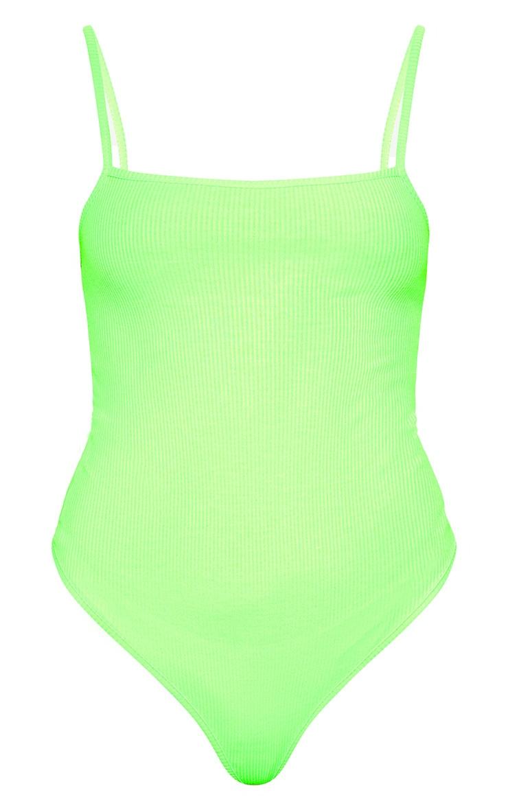 Light Lime Ribbed Square Neck Thong Bodysuit 3
