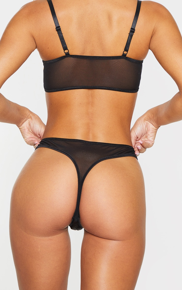 Black Stitching Detail Satin Thong 3