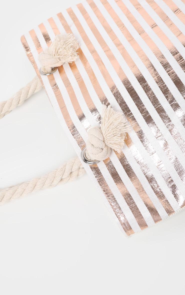 Ecru And Gold Metallic Stripped Beach Bag 4