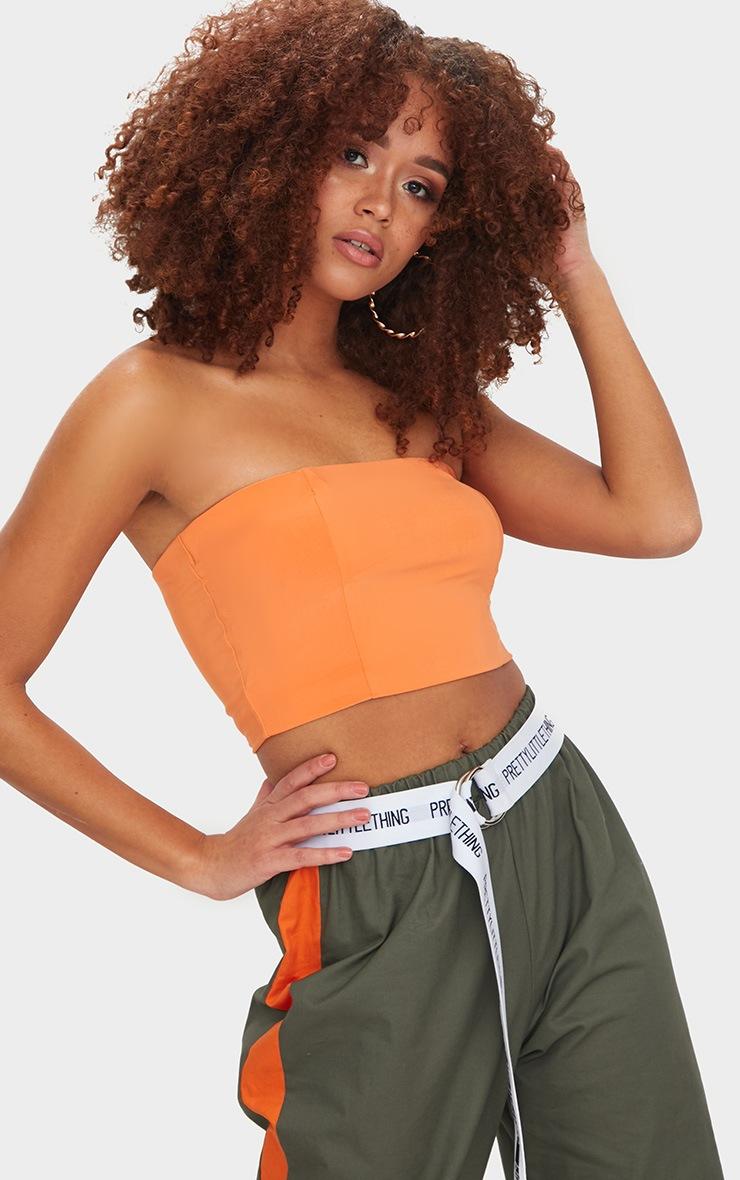 Helsa Tangerine Slinky Bandeau Crop Top
