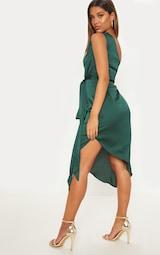 Emerald Green Satin One Shoulder Tie Waist Asymmetric Hem Midi Dress 2