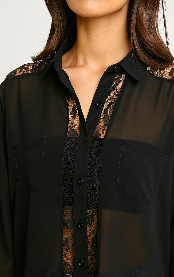 Ruri Black Lace Detail Shirt 5