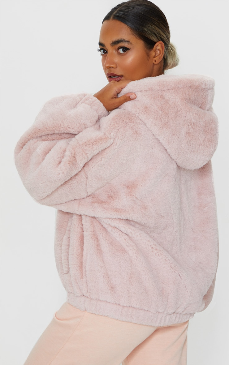 Petite Pink Faux Fur Balloon Sleeve Hooded Jacket 2