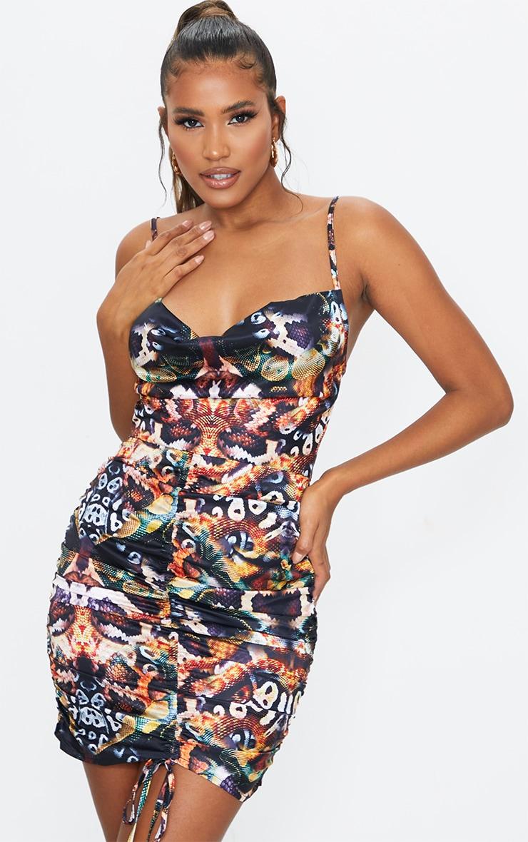 Multi Snake Print Satin Ruched Skirt Cowl Neck Bodycon Dress 1