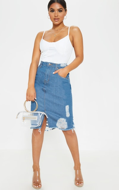 df0cc9e1b Petite Mid Wash Distressed Hem Midi Skirt PrettyLittleThing Sticker